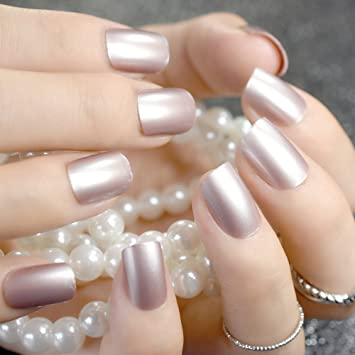 Amazon Com Baby Pink Short False Nails Tips Light Pink