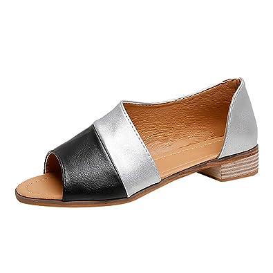 Womens Punk Open Toe Hollow Leather Flats Sandals Slip On Roman Oxfords Shoes SZ