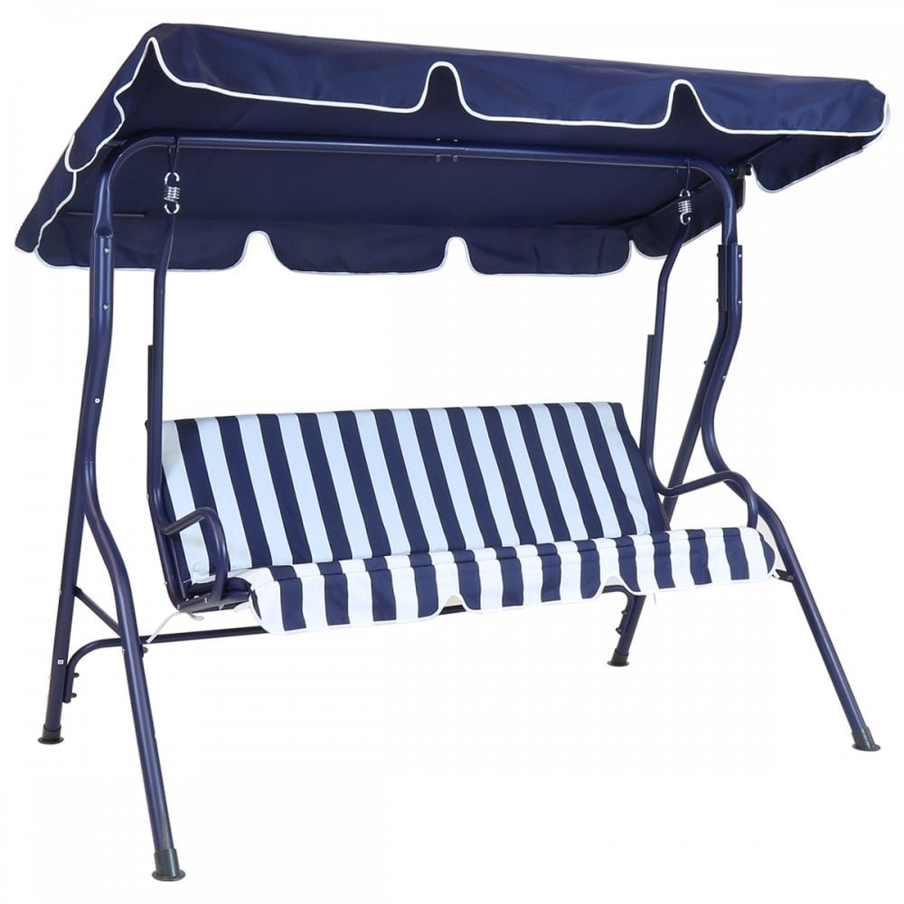 Bentley Garden 2 Seater Patio Swing Seat Chair Hammock - Blue and White Striped Charles Bentley