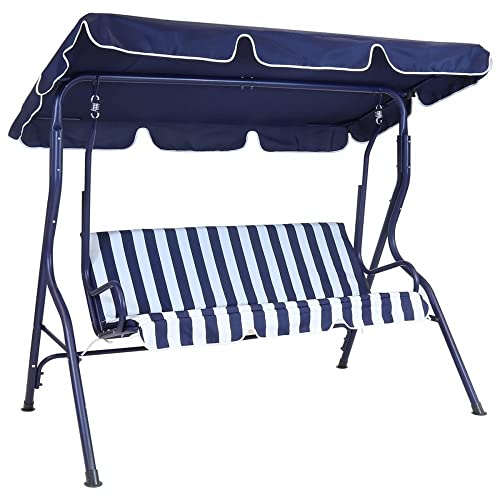 Bentley Garden 2 Seater Patio Swing Seat Chair Hammock - Blue and White Striped