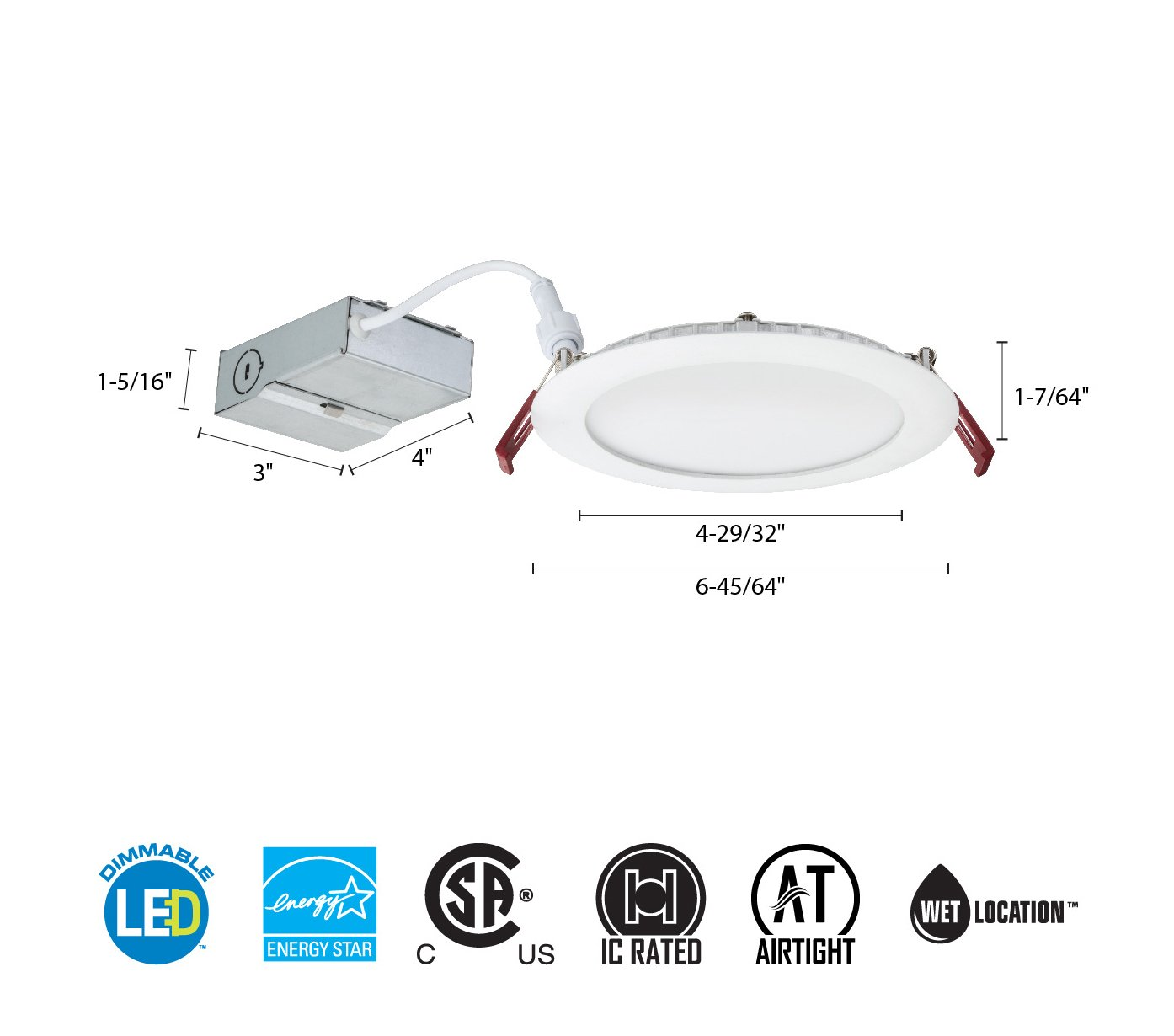 Lithonia Lighting Wf6 Ll Led 27k Mw M6 Ultra Thin Dimmable Wiring Diagram Of Triac Dimming Downlight Connecting Over 1 Recessed Ceiling Light 2700k Warm White Matte 6 Inch