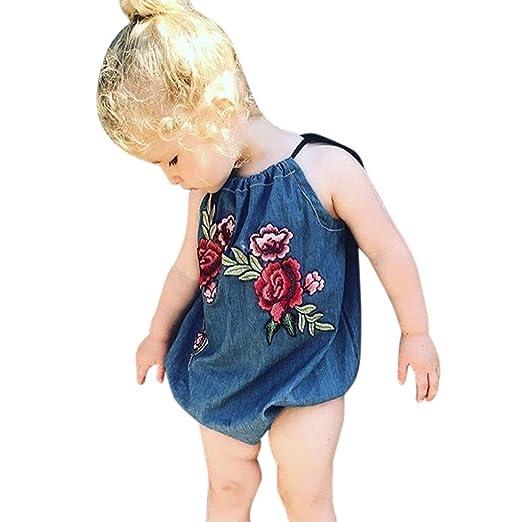 2452d99d88e Sunbona Infant Newborn Baby Girls Denim Flower Embroidery Strap Romper  Jumpsuit Pajamas Summer Outfits Clothes (