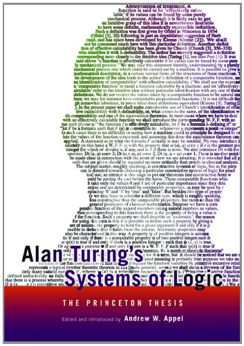 Alan Turing's Systems of Logic: The Princeton Thesis by Princeton University Press