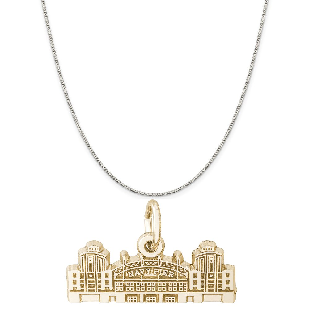 Rembrandt Charms Two-Tone Sterling Silver Navy Pier Charm on a Sterling Silver 16 Box or Curb Chain Necklace 18 or 20 inch Rope