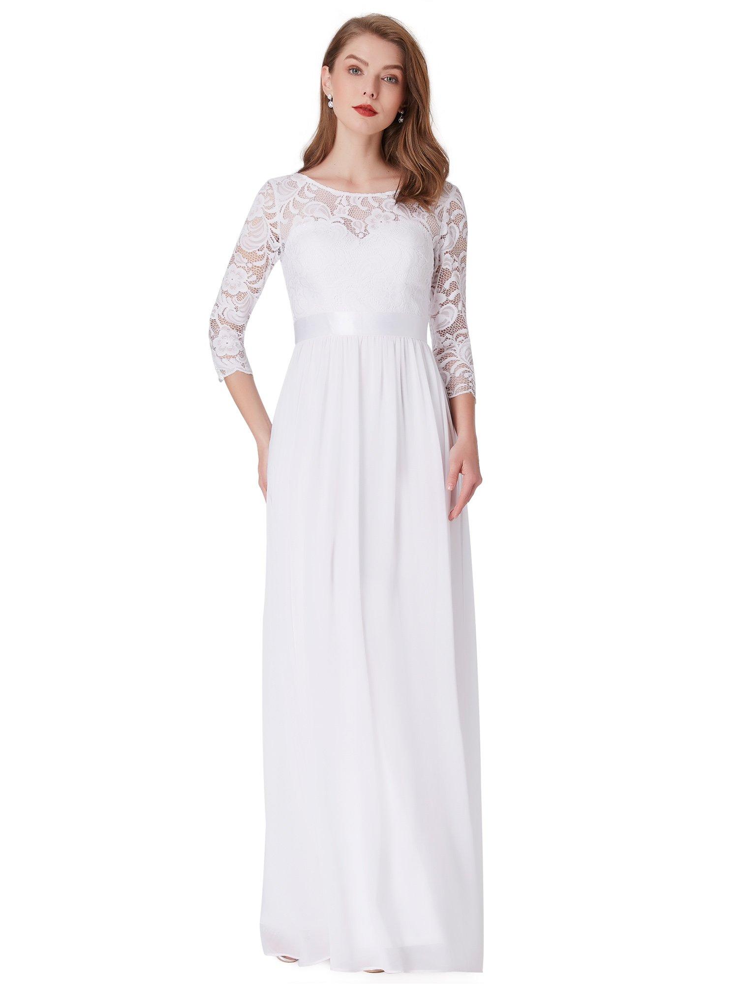 f7803fb6a2286 Ever-Pretty Robe de Soirée Manches 3 4 en Dentelle Transparente 08412  product image