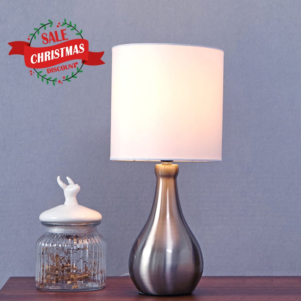 GLANZHAUS Contemporary Modern Style 14.4''H Nightstand Brushed Nickel Small Table Lamp, White Lampshade Beside Lamps for Bed room Living Room