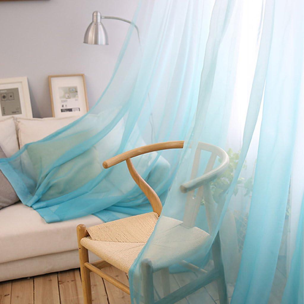 1 Panneaux Largeur 150cm // Hauteur 260cm, Bleu avec Blanc SIMPVALE Rideaux Voilages D/égrad/é /à Crochets Voile Semi-Transparent Voilage El/égant D/écor de Fen/être Salon Balcon Chambre