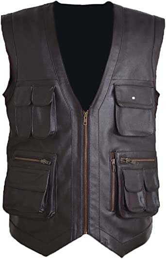 Grade A Genuine or Faux Leather Chris Pratt Jurassic World Park Brown Mens Vest