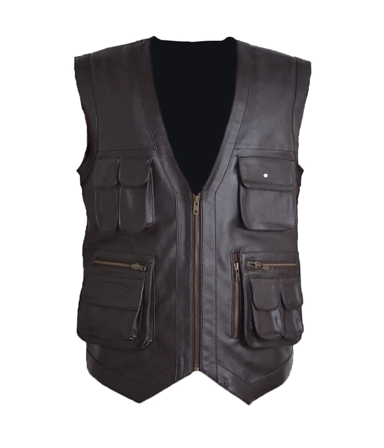FWL Jurrasic Park Coffee Brown Faux Leather Vest XXS-5XL Brown