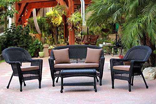 Traditional Conversation Set (Jeco W00207-G-FS007 4 Piece Wicker Conversation Set with Cococa Brown Cushions, Black)