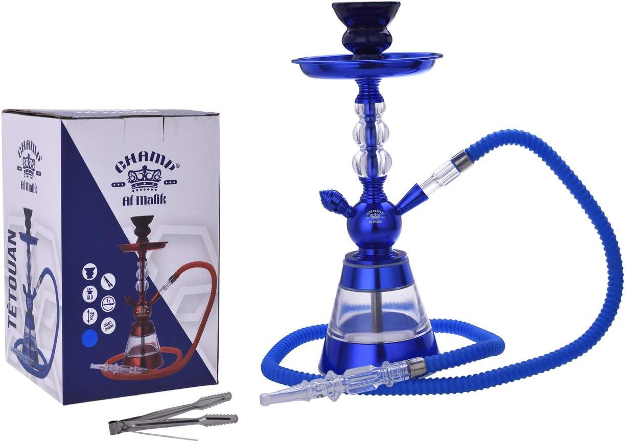 CHAMP Al Malik - Hermosa Chicha de Aluminio Tetuán - Narguile - Narguile - Azul 35 cm - Jarrón de acrílico - Entregado con Chimenea de cerámica, Tubo de plástico y Pinzas para carbón.