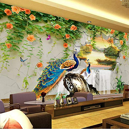 (xbwy Custom Photo Wallpaper 3D Stereo Peacock Pastoral Wall Painting Living Room Tv Sofa Classic Background Wall Mural 3D-150X120Cm )