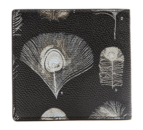 Wiberlux Alexander McQueen Men's Peacock Feather Print Real Leather Wallet One Size - Alexander Mcqueen Men Sale