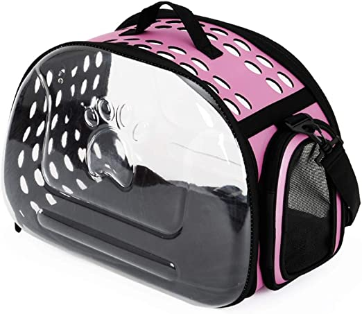 Mochila para Mascotas Estuche Transparente para Llevar Pecho Bolsas De Hombro Bolso Bolsas para Perros Gato Jaula (Color : Pink, Size : S): Amazon.es: Hogar