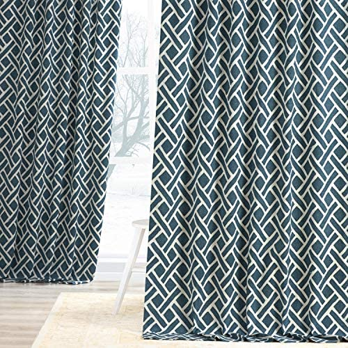 HPD Half Price Drapes PRCT-D07D-120 Printed Cotton Curtain 1 Panel , 50 X 120, Martinique Blue