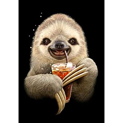 Diamond Painting Kits for Adults, Kids. Office Decoration, Home Room Sloth Drinking a Drink in Pack by Tangbr: Arts, Crafts & Sewing