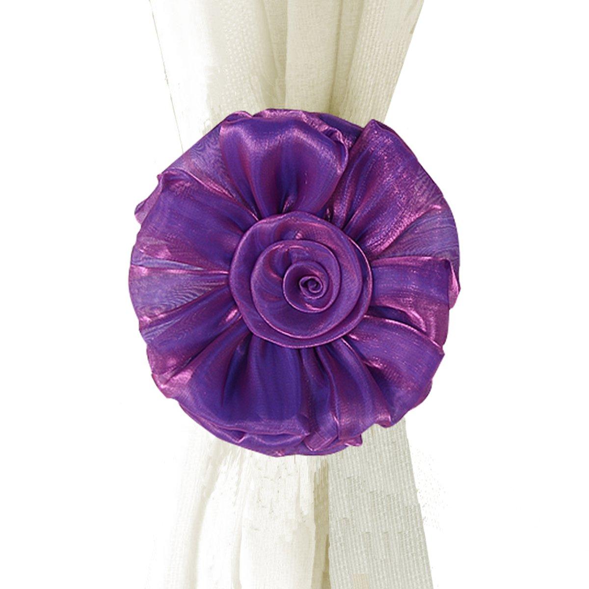 2pcs Cartoon 3D Daisy Flower Window Curtain Tieback Curtain Buckle Accessories for Children Nursery Room (Purple)