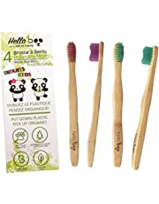 Bamboo Toothbrush for kids | 4 Pack Biodegradable Tooth Brush Set | Organic Eco-Friendly Moso Bamboo with Ergonomic Handles and Soft Nylon Bristles | By Hello Eco Company