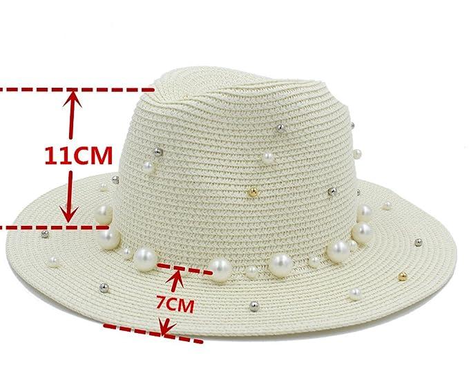 Tiene Chapeau Mujeres Hombres Verano Toquilla Paja con Perla Sombrero para  Dama Elegante Dama Ancha Homburg Fedora Sunbonnet Beach Sombrero para el  Sol GAO ... 53ebcd2ced8
