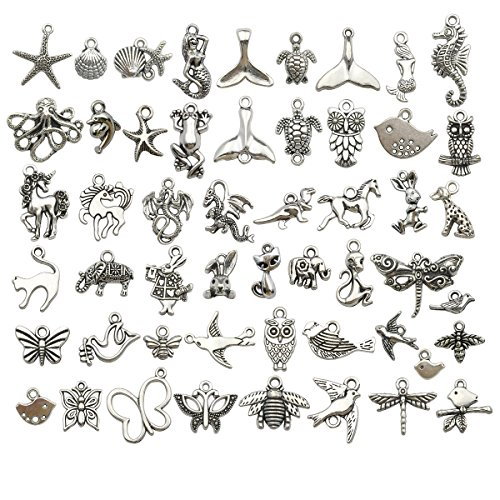 - iloveDIYbeads 100g (about 100pcs) Craft Supplies Small Antique Silver Animals Charms Pendants for Crafting, Jewelry Findings Making Accessory For DIY Necklace Bracelet (Mixed Silver Animals)