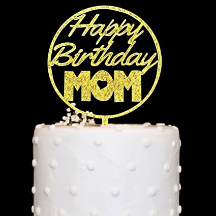 Amazon Happy Birthday MOM Cake Topper Acrylic Gold Glitter For
