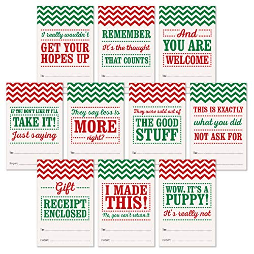 100 Holiday Gift Tags - Funny Gift Labels for Christmas - Self Adhesive - Funny Gift Wrap