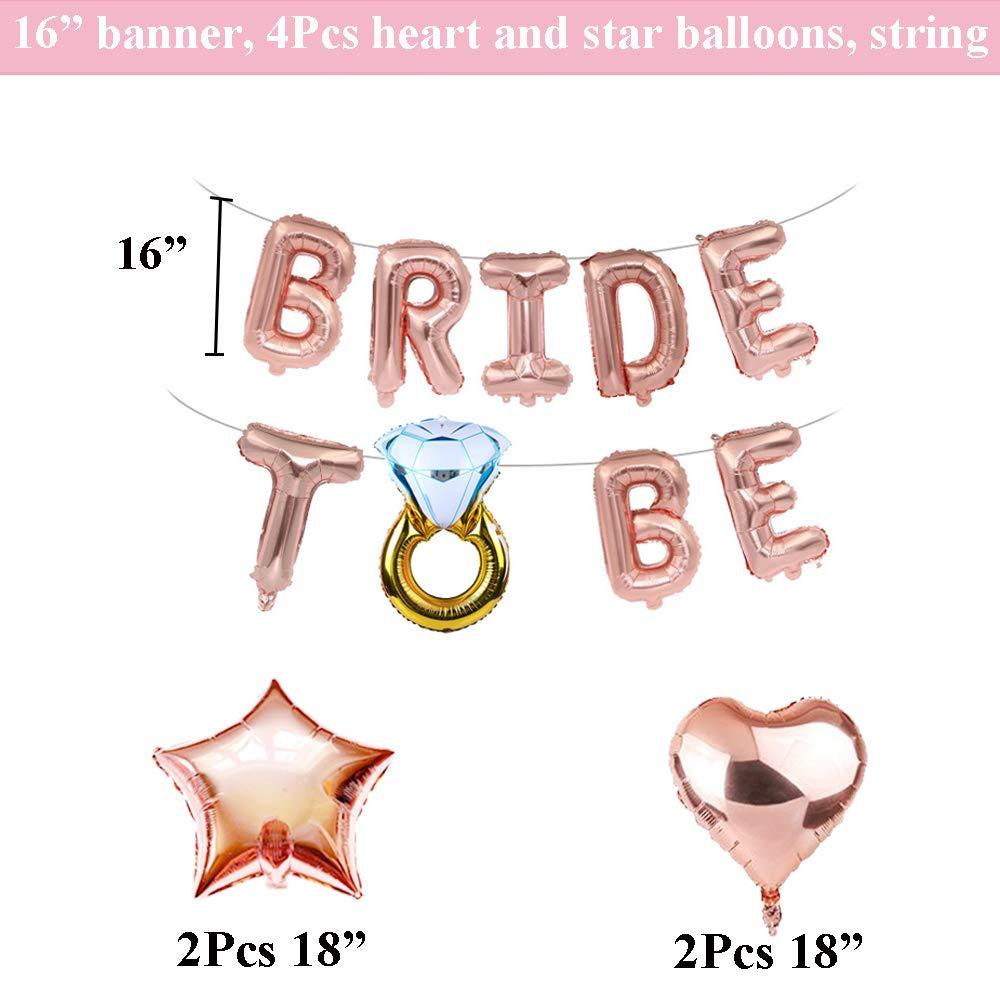 Hen Party Decorations JWTOYZ Bride Decorations Rose Gold Bachelorette Party Decorations Star Heart Foil Balloons for Bridal Shower Party Decoration
