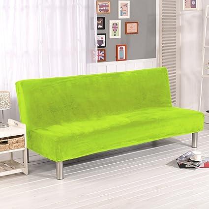 LINGJUN Moderno Funda Elástica de Sofá sin Brazos Cuebierta Antipolvo Antimanchas Sofá Cama Protección Muebles de Color Puro (Fruta verde)