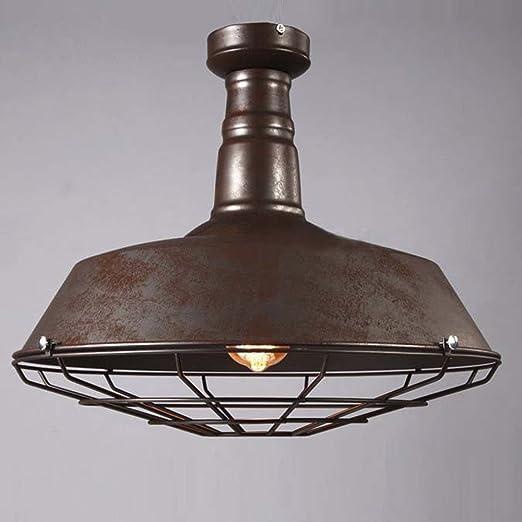 NIUYAO Lámpara de techo Metal con Valla Rust Iluminación Ciling Light Industrial Retro con 1 Luz-Negro: Amazon.es: Iluminación
