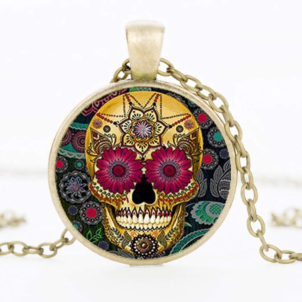 Mens necklace Hot Fashion Classic Mexican Sugar Skull Pendant Necklace Silver Color Chain Day Dead Crystal Skull Necklace Men Jewelery