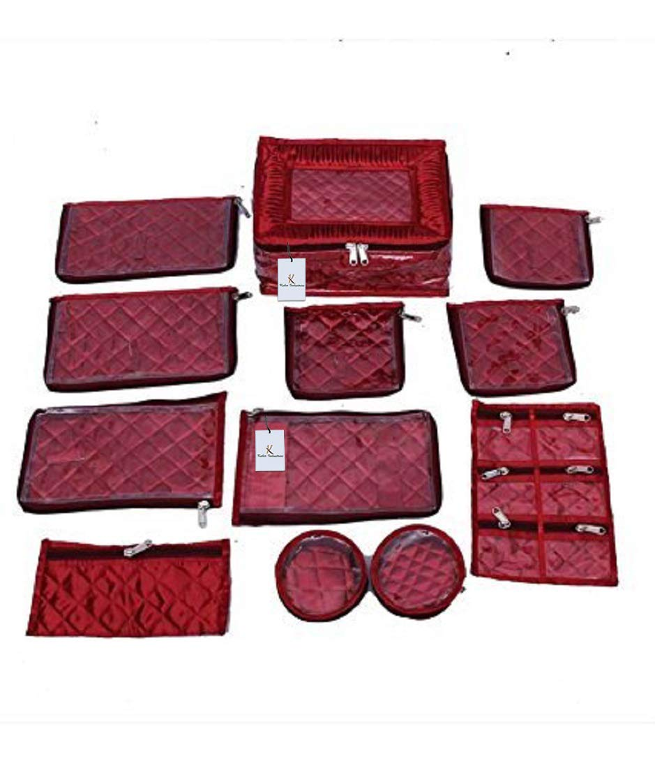 Kuber Industries Satin Jewellery Kit With 1 Pouches, Maroon