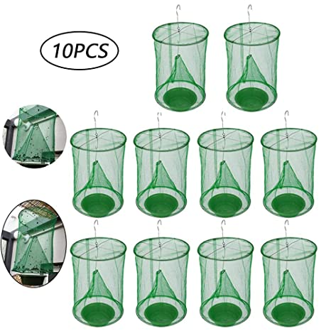 Volwco Ranch Fly Trap (2019 Newest), 10 Pack Effective Trap Fly Trap Cage  with Food Bait, No-Toxic Outdoor Reusable Fly Catcher - Perfect for Lawn,