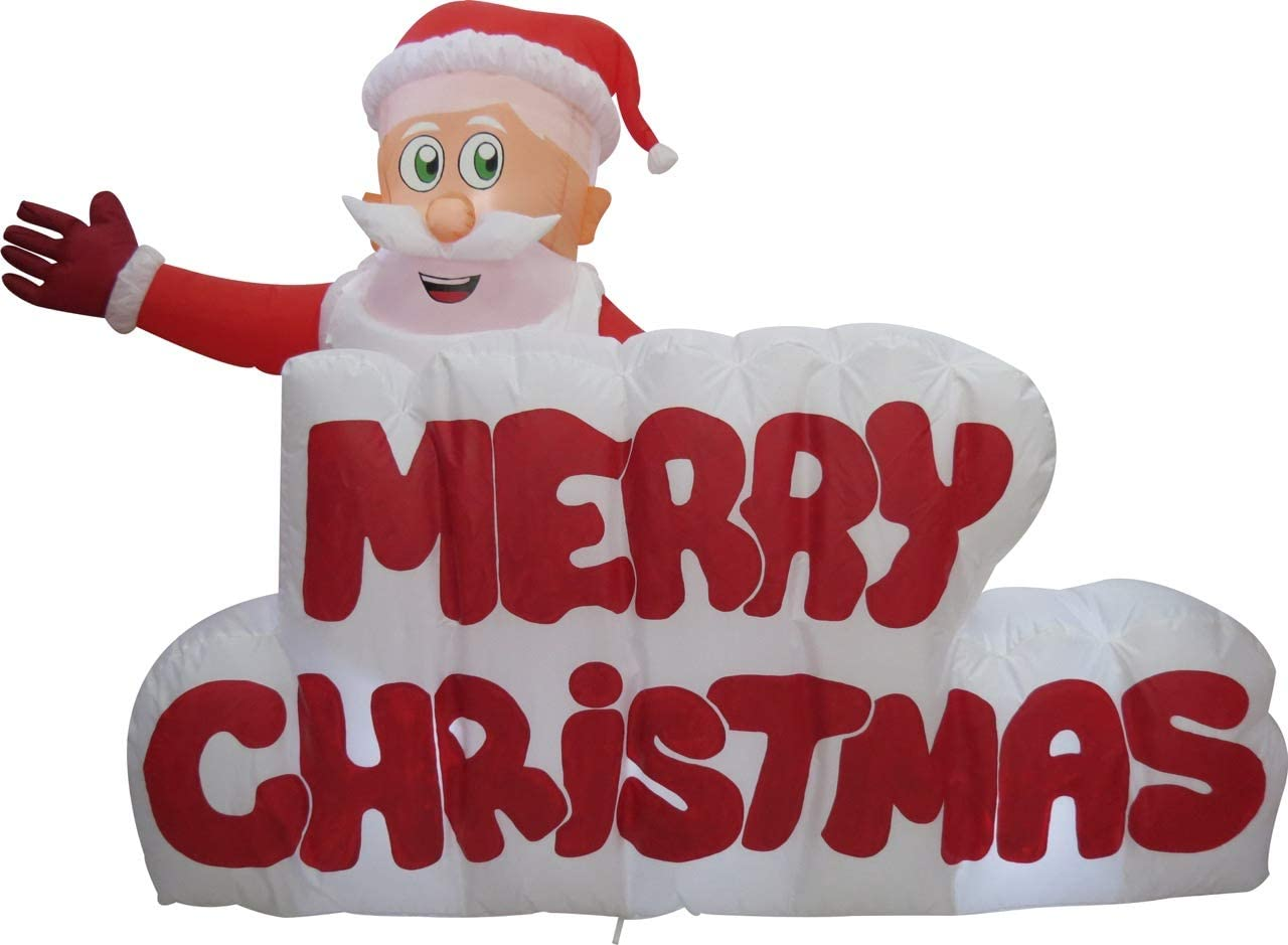 XXL LED WEIHNACHTSMANN+Pinguin IN GESCHENKBOX~AUFBLASBAR~Inflatable~AIRBLOWN ~SELBSTAUFBLASEND~LED BELEUCHTET~Garten DEKO Figur~AIR Blown~WEIHNACHTSDEKO~Santa