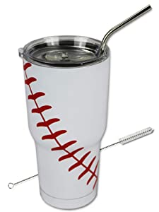 Baseball Tumbler 30 oz Cup with Straw, Lid, and Cleaner Gift for Mom Men Sports Travel Coffee Mug, Stainless Steel, Vacuum Insulated, Keep Drinks Cold and Hot