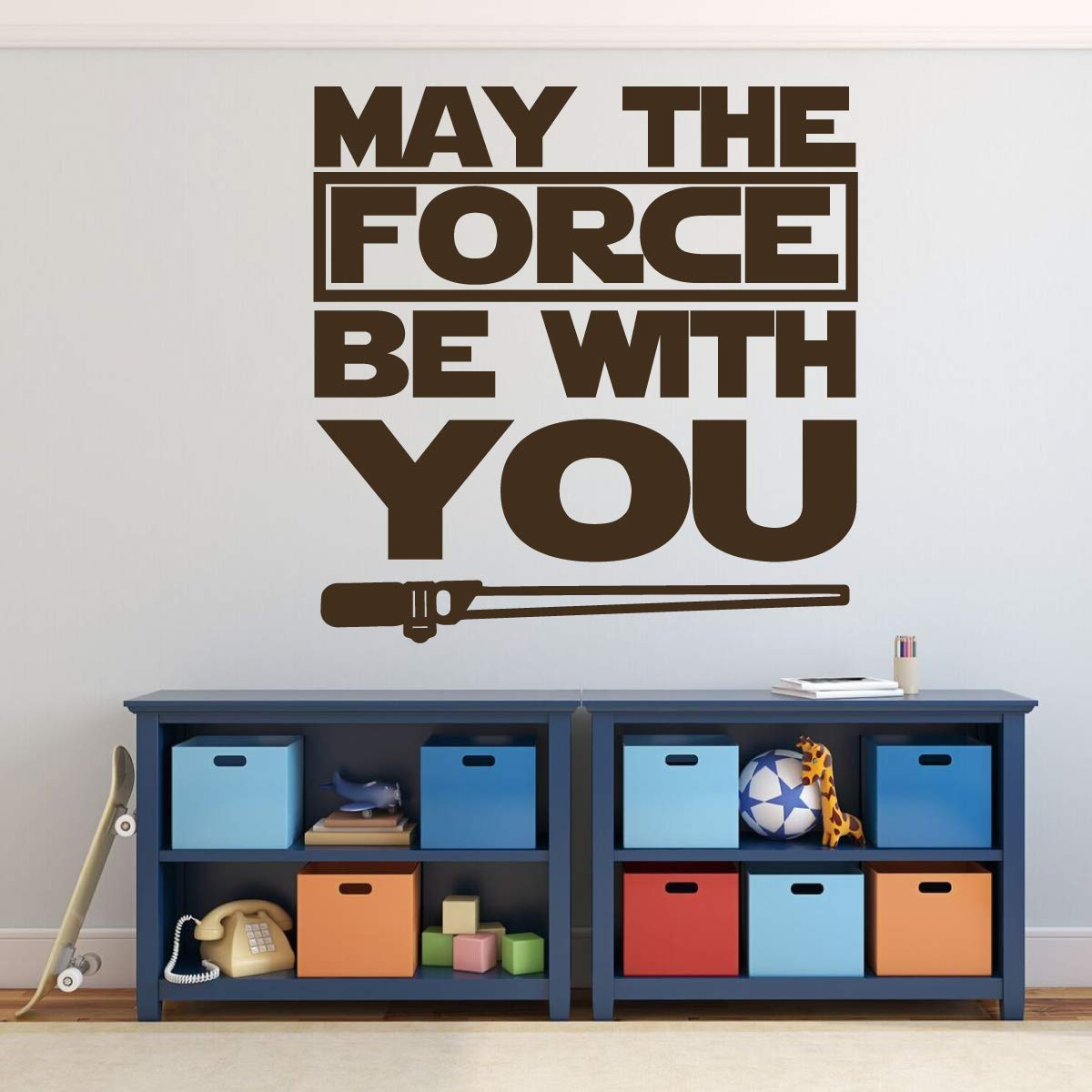 Amazon Com Star Wars Lightsaber Vinyl Wall Decal May The Force
