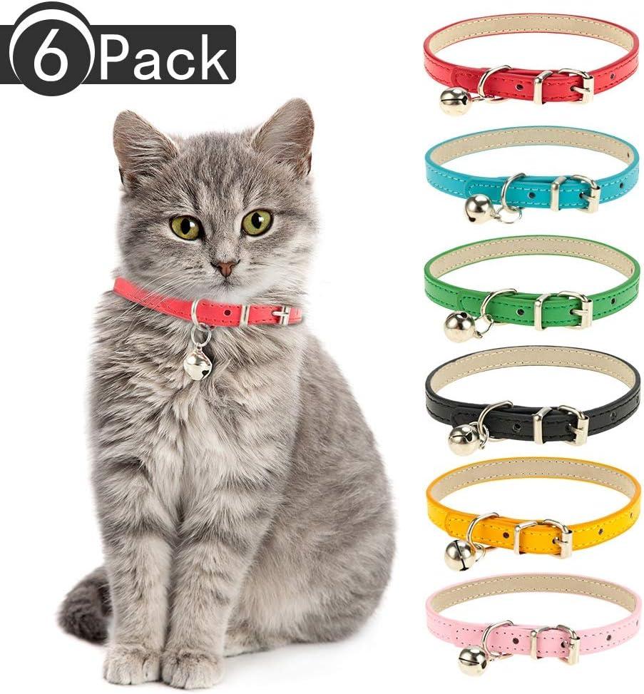 Yumi V 6Pcs Collar de Cuero de Gato para Mascotas Collar de Cuero de Gato Collar Ajustable para Moscotas