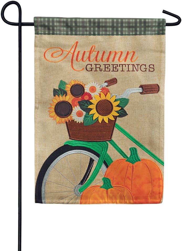 Carson Flag Trends Fall Garden Flag - Autumn Bicycle Double Applique Garden Flag - 12.5