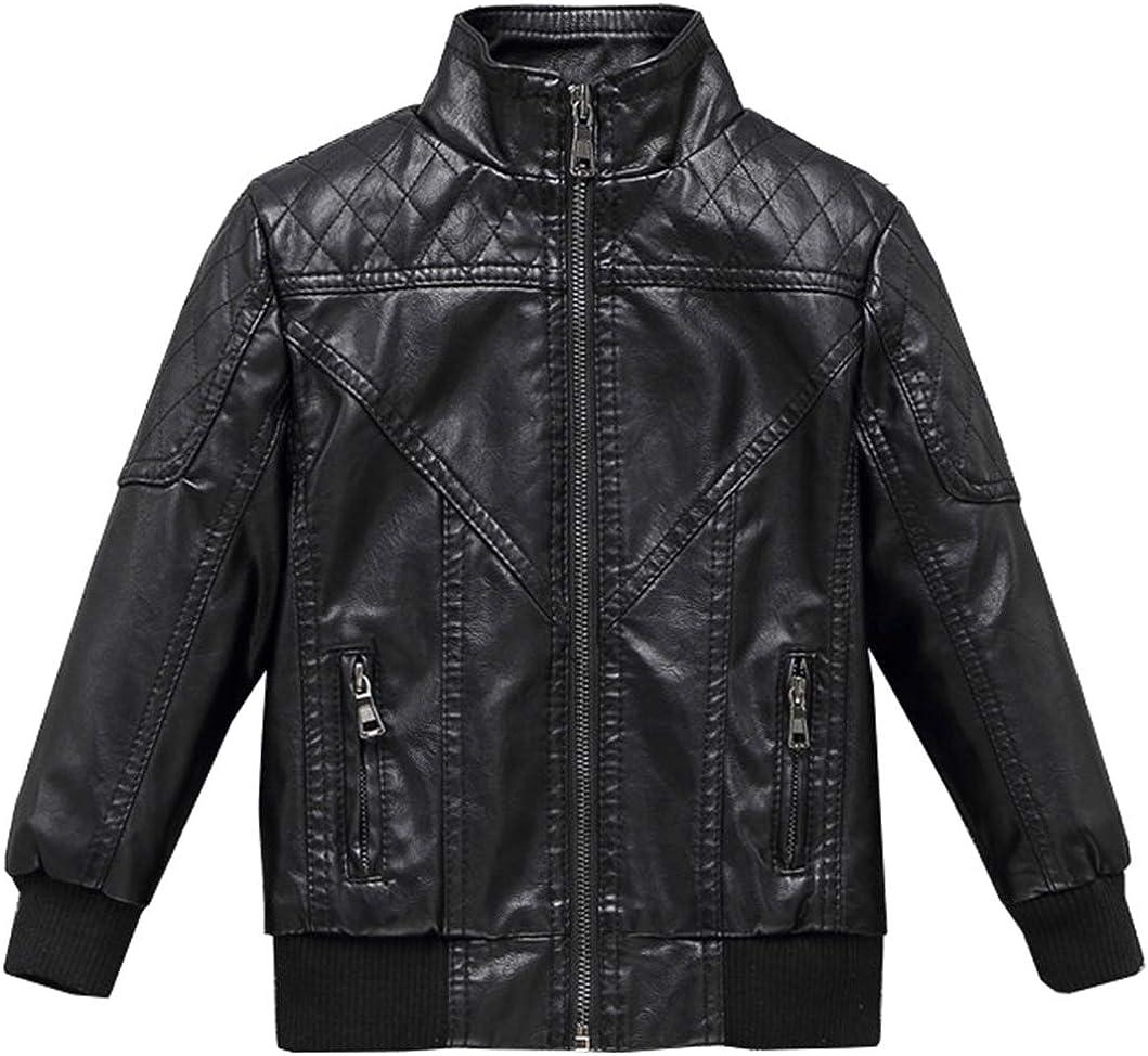 Boys Faux Leather Motorcycle Biker Jacket Waterproof Zipper Coat with Removable Hood