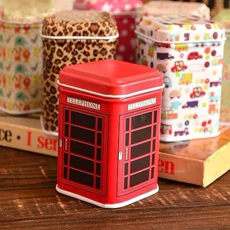 Luckyrainbow, caja de almacenamiento para té, caja de metal para dulces, joyas, hierro, té y monedas, caja cuadrada (rojo): Amazon.es: Hogar