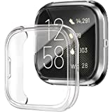 Soft TPU Ultra-Thin Clear Case + Built-in Tempered Glass Screen Protector for Fitbit Versa 2 Watch, amBand Crystal Glass…