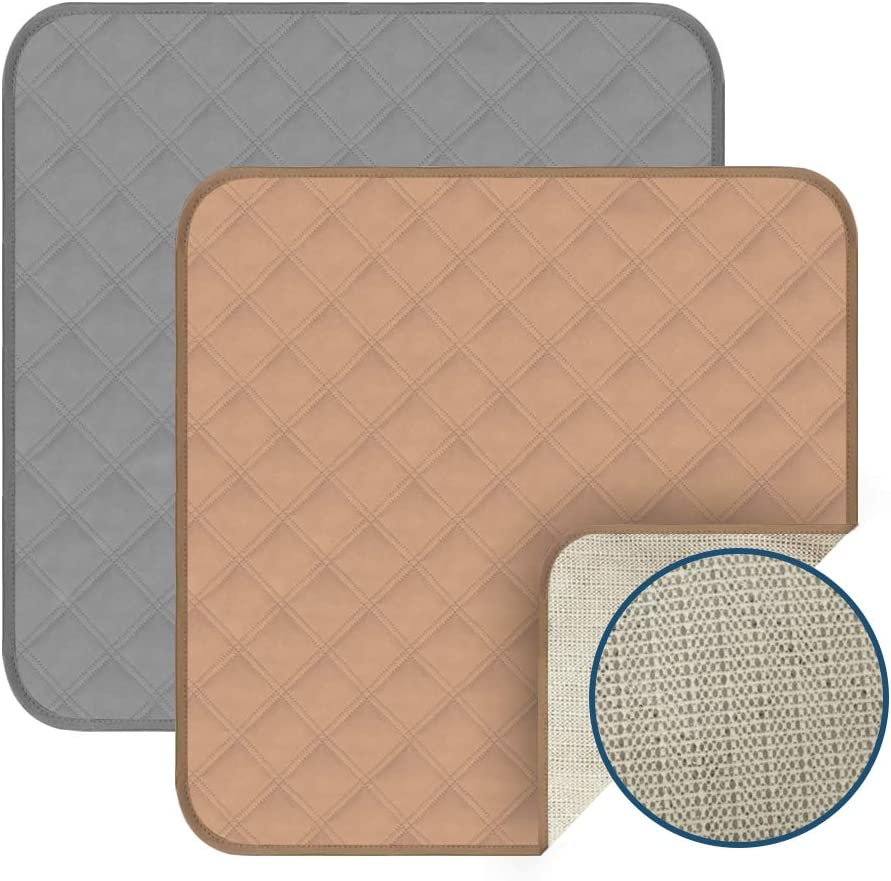 """Acutelien Waterproof Pads Seat Protector Pads 2 Pack Incontinence Pad Machine Washable 4-Layer Innovative Design for wheelchairs, Furniture, car Airplane Train Seats, 22""""X21"""" (Beige&Gray)"""