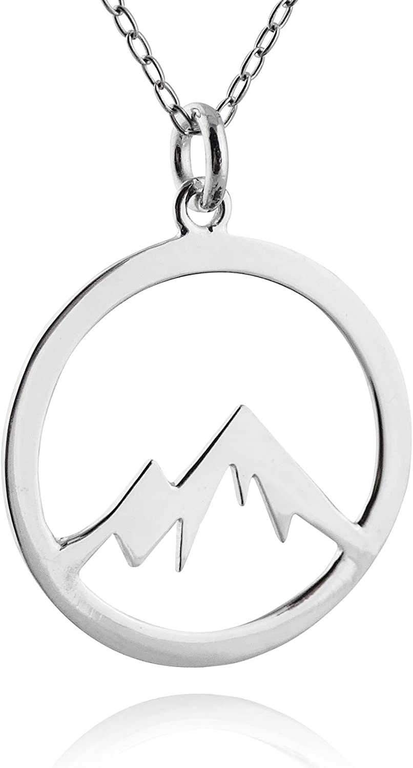 FashionJunkie4Life Sterling Silver Snowcapped Mountain Range Peaks Pendant Necklace, 18""