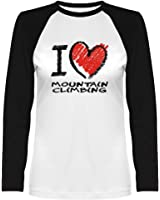 Idakoos - I love Mountain Climbing chalk style - Hobbies - Women Raglan Long Sleeve T-Shirt