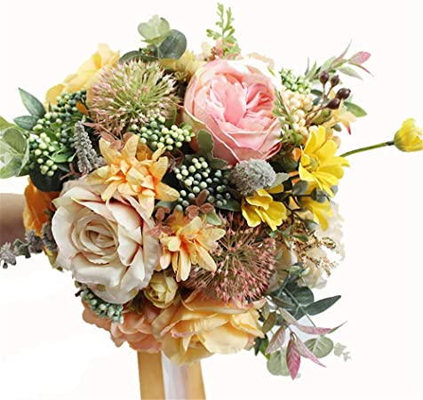Fiori Gialli Per Bouquet.Zhongsufei Bouquet Di Fiori Di Seta Bouquet Da Sposa Fiori Gialli