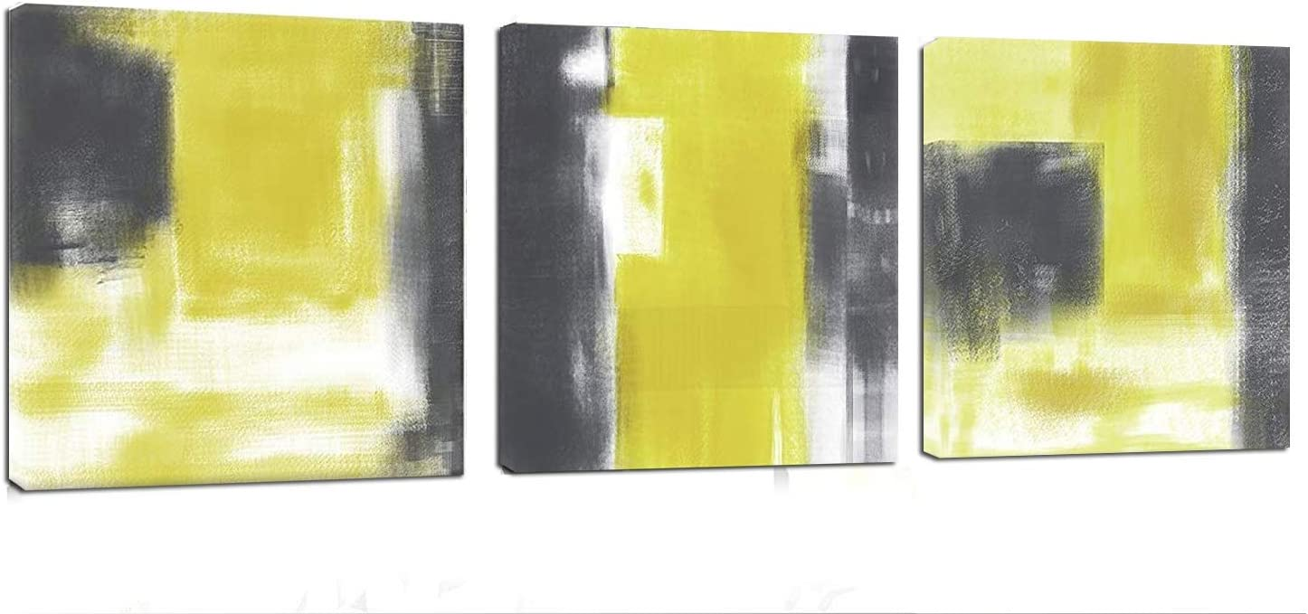 """Abstract Canvas Wall Art Set 36"""" x 12"""" Yellow Gray Canvas Art Decor Painting Print with Stretched Framed Ready to Hang for Living Room Home Decoration"""