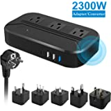 Voltage Converter 2300W Power Step Down 220V to 110V Universal Travel Adapter Power Converter Power Transformer w/ 3 AC Outle