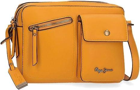 Pepe Jeans Zoe Bandolera Dos Compartimentos Amarillo 25x18x6,5 cms Piel Sintética