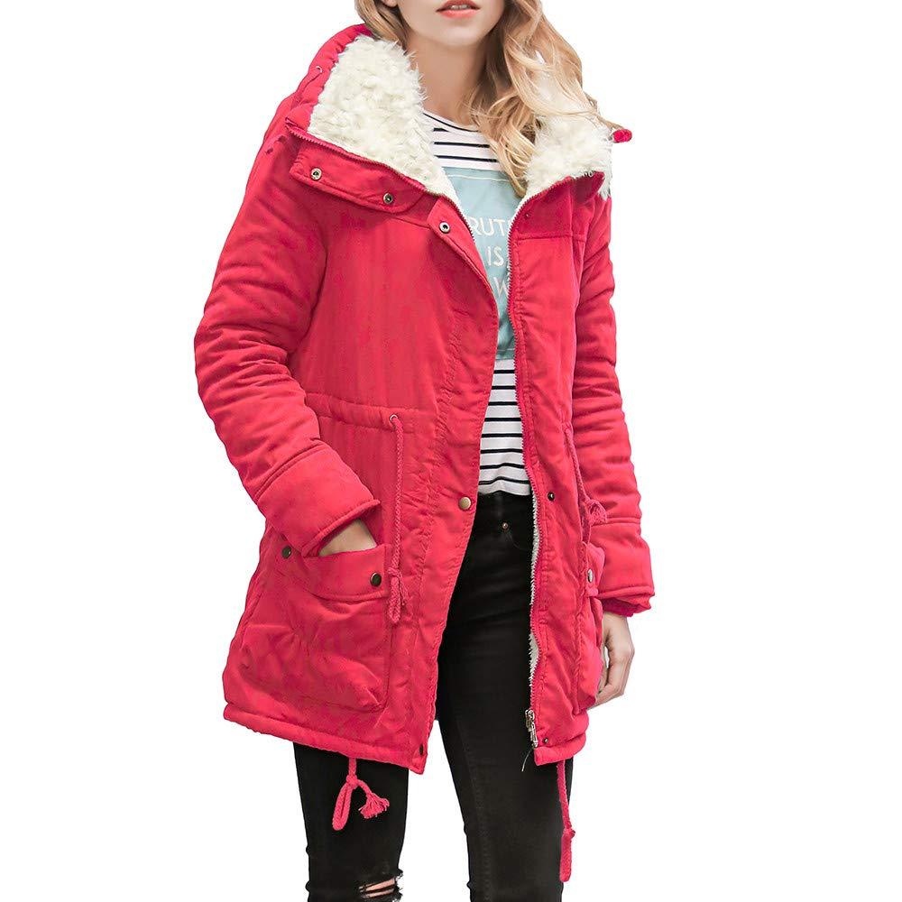Mysky Fashion Womens Warm Long Collar Hooded Jacket Slim Parka Ladies Casual Solid Faux Fur Outwear Coats