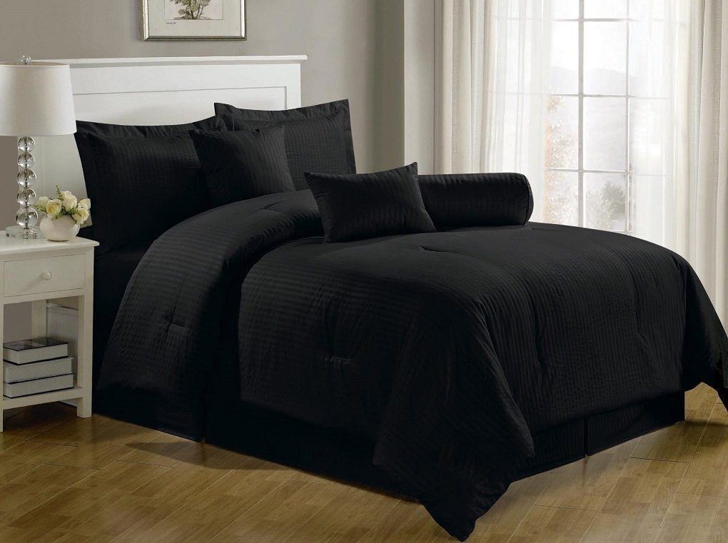 7-Piece Hotel Dobby Stripe Comforter Set, Queen, Black