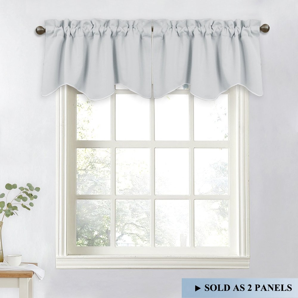 NICETOWN Living Room Short Curtains - 52-inch x 18-inch Rod Pocket Durable Valance Curtains for Tiny Bathroom Window (Light Grey=Greyish White, Set of 2)